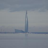 Вид на Лахта-центр из Красносельского района (МО Сосновая Поляна)