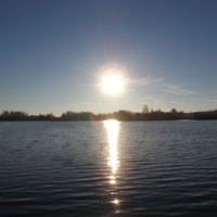 Солнце отражается в пруду