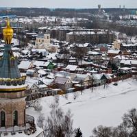 Торжок со смотровой площадки надвратной церкви  Борисоглебского мужского монастыря в Торжке