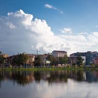 Вид с озера Нуригель в парке им. 6 мая