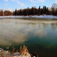 Озеро в Алёшино зимой.