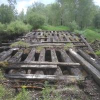 Старый деревянный мост через р. Юргу.