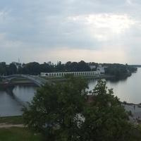Панорама реки Волхов  с крепостной стены