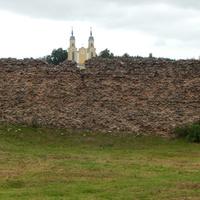 Вид на башни костела с территории замка
