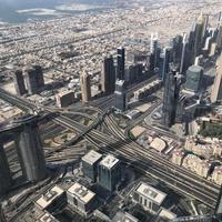 Вид на город смотровой площадки небоскреба Burj Khalifa