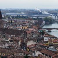 Панорама города Верона со смотровой площадки.