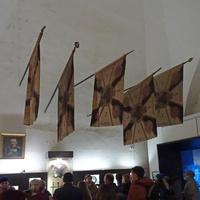Золотые Ворота. Экспозиция внутри Золотых Ворот. Русские знамёна.