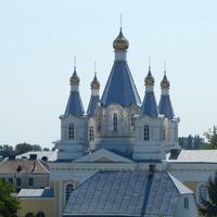 Вид с автомобильного моста на купола Свято-Александро-Невского собора