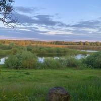 На кургане, вид на реку Сож, деревня Мирогощь
