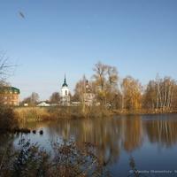 Вид на Лаптевский пруд и церковь Николая Чудотворца,