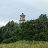Вид с деревенской улицы на колокольню Троицкой церкви