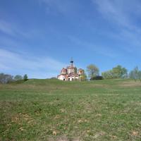 Село Сулега. Вид на церковь от реки Уйвешь.