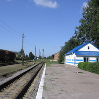 ЖД станция. Домик на платформе.