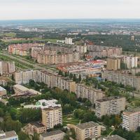 """Вид с вертолета, бульвар Страконицкого и рынок """"Привоз"""""""