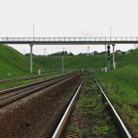 Пешеходный мост и входные светофоры ст. Могилев 1