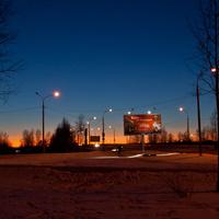 Въезд на Краснофлотский мост. Вечер.