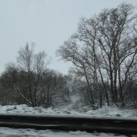 Проезжая мост зимой