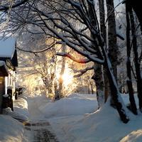 Закат в Онеге. Улица Свердлова. Январь 2013г.