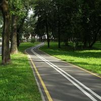 В парке им. Горького есть и велосипедная дорожка