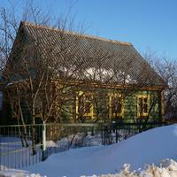 Зелёный бревенчатый дом