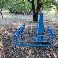 могила неизвестных солдат в лесополосе у зернотока