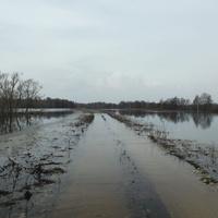 Вода добралась и до бетонной автодороги…