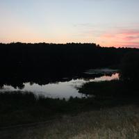 Озеро на закате солнца...