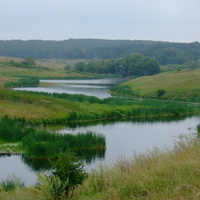 Вид на Озерно со стороны старой водокачки