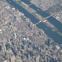Панорама города с борта самолета