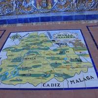 Карта области Севилья (пано из керамической плитке на Площади Испании)