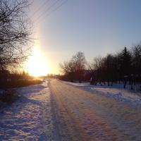 Из поселка Солнцево в село Никольское (по объездной дороге, ул. 2-я Пушкина). Январь, 201 4 г.