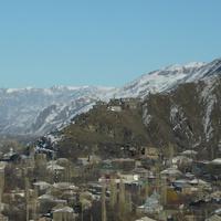 Вид на часть селения и священное культовое место - Теке