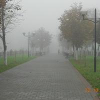 Бульвар Победы в туманное утро
