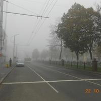 проспект Победа в туманное утро