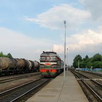 Прибытие поезда Гомель-Гродно на станцию