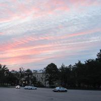 Красное Село, рассвет на центральной площади