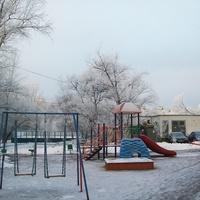 Зима. Иней. Детская площадка.