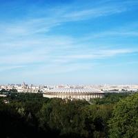 Панорама Москвы с Воробьёвых гор. Лужники.