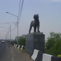 Статуя тигра на мосту через Селенгу в Улан-Удэ