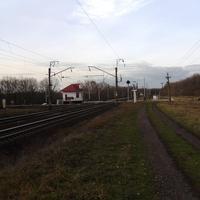 Залізничний переїзд і зупинка електрички