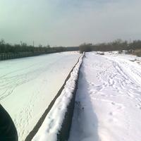 Река Терек Зимой город Кизляр
