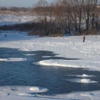 Зарайск.плотина на реке Осетр зимой