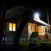 Волжская турбаза Белый Берег у посёлка Цаган-Аман. Ночь