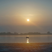 Восход на Волге у поселка Цаган-Аман