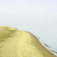 Туманное утро на песчаном острове у поселка Цаган-Аман. Волга