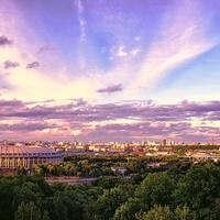 Вид со смотровой площадки Воробьевых гор на Москву