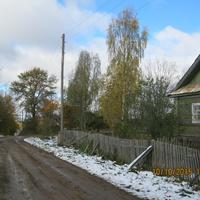 Первый снег в деревне.
