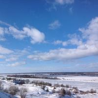 Окрестности села Константиново. Замерзшая Ока и поле.