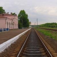Общий вид станции Сердюковка,одноколейная путь линии Укрзалізниці Конотоп-Одесса.