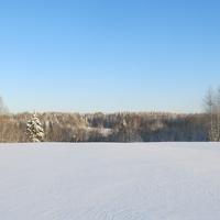 Зимнее поле к омуту